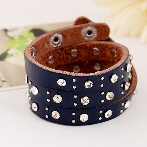 Wholesale fashion diamond rivets leather bracelet leather for Rivets for leather jewelry