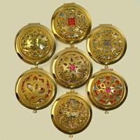Gold color hollow series of high-grade round make-up mirror,companct mirror(random pattern,1 price)