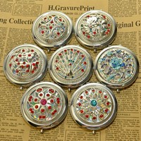 Silver color hollow series of high-grade make-up mirror,compact mirror(random pattern,1 price)