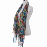 Multi-element lovely smiling face graffiti Scarf