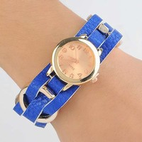 Really belt fashion rose gold small round dial watch