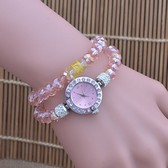 Pink crystal diamond fashion elastic winding Bracelet watch