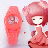 Fashion wave point silica gel belt Children Watch
