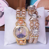 Fashion diamond bracelet pearl watch
