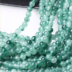 8MM Green white Chalcedony Round Loose Beads