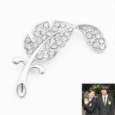 Korean fashion diamond feather brooch