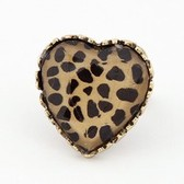 Fashion ring opening of hearts retro leopard