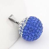 (Blue) exquisite color retention Korean version of the 20mm titanium crystal ball pendant