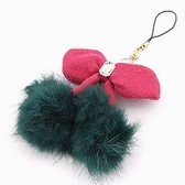 Fashion models hairy lena rabbit ball cherry bow hair clips / side folder / multi-purpose hair accessories cell phone accessories