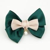 Korean Fashion sweet double bow pearl hairpin side folder