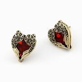 Korean fashion retro ruby wings heart earrings