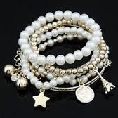 Multi-boutique Korean Fashion Eiffel Tower Pearl big coin combination Bracelet