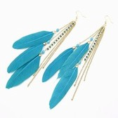 Korean Fashion flash diamond tassel charm feather earrings