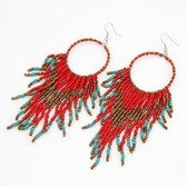 European and American bohemian beaded temperament tassel earrings