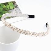 (White) Korean fashion handmade crystal beaded braid hair hoop