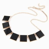 European and American fashion wild temperament metal geometry box necklace short paragraph