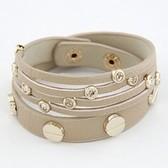 Snap Button thin metallic leather bracelet