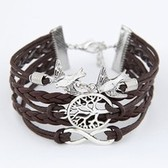 European and American retro bracelet tree of life and birds multilayer woven handmade alloy fittings bracelet