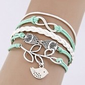 restore ancient  branches and leaves the owl of eight composite alloy parts manual multilayer woven bracelets