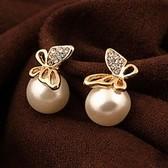 Korean fashion boutique sweet butterfly pearl earrings