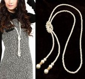 ( Gold ) quality imitation pearls simple temperament long necklace