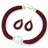 Large pearl necklace / Earrings Set