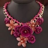 Metal Beautiful luxury  rich flowers short necklace