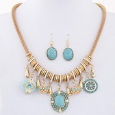 Bohemian ethnic style turquoise necklace Earring Sets