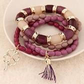 Metal gorgeous Clover Tassel multilayer bracelet