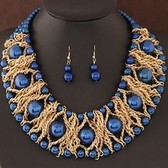 Fashion metal braid pearl necklace Earring Sets