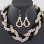 Simple metal braided necklace Earring Sets
