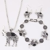 tophus elephant necklace earrings bracelet jewelry set