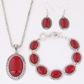 Tophus ellipse necklace earrings bracelet jewelry set