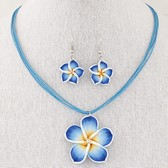Fashion sweet retro flower wax rope necklace Earring Sets