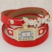 Fashion flash drilling multi-layer metal leaves leather bracelet watch