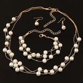 Fashion multilayer pearl Necklace Earrings Bracelet Set