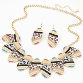 Simple oval metal trend ethnic necklace studs Set