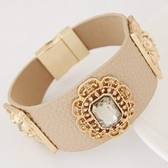 Concise trend metallic leather gems  bracelets