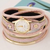 Ladies fashion simple leather double bend metal bracelet watch