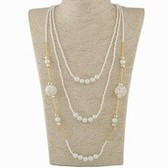 Fashion metal ball beads multilayer necklace