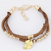 Fashion Clover metal ball Leather Bracelet