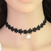 Concise fashion lace pearl necklace