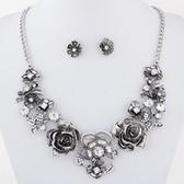 Fashion metal rich flowers Necklace earrings Set