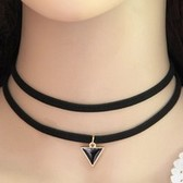 Fashion velvet rope triangle necklace