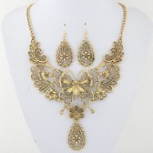 Fashion metal hollow necklace earrings set