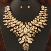 Fashion metal gem necklace earring sets