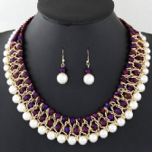 Fashion metal crystal pearl weave necklace earrings set