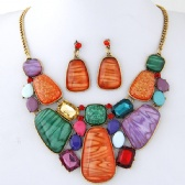 Resin stone Earrings Necklace set
