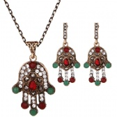 Hamsa Necklace Earrings Set