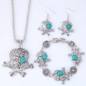 Skull Necklace Bracelet Earrings Set